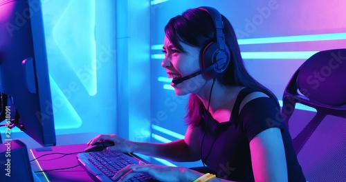 Fotografía cyber sport gamer playing game