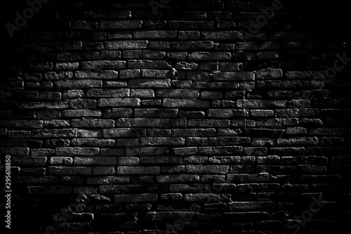 Poster Brick wall Black brick walls background and texture. The texture of the brick is black. Background of empty brick basement wall. black wall.