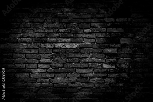 Foto auf Gartenposter Ziegelmauer Black brick walls background and texture. The texture of the brick is black. Background of empty brick basement wall. black wall.