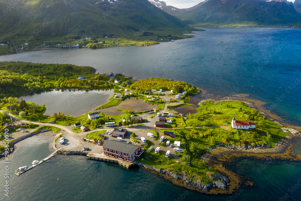 Fototapety, obrazy: Beautiful Nature Norway Aerial view of the campsite to relax.
