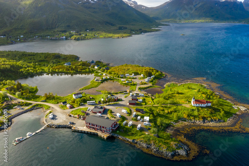 Wall Murals Northern Europe Beautiful Nature Norway Aerial view of the campsite to relax.