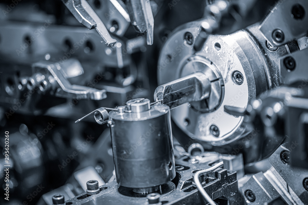 Fototapeta Cnc Wire Forming Machine, modern CNC spring machines for production of different types of wire bends.