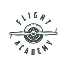 Flight Academy. Retro Logo, Emblem, Badge. T-shirt Print.