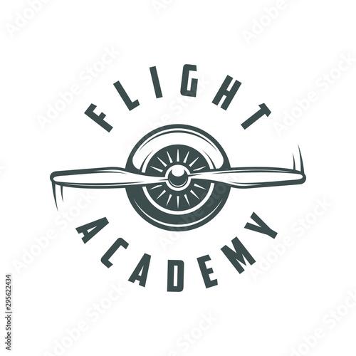 Photo Flight academy. Retro logo, emblem, badge. T-shirt print.