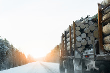 Truck With Timber Logs On A Wi...