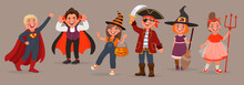 Kids Dressed In Halloween Costumes. Trick Or Treat. Boys And Girls Celebrate The Holiday. Element For Design