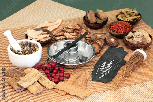 Vászonkép Traditional Chinese herbs used in herbal medicine with acupuncture needles and moxa stick used in moxibustion therapy on bamboo mats and green background