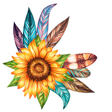 Set Of Bird Feathers And Sunflower Isolated On White. Watercolor And Marker Art. Perfect For Wedding Invitations, Cards, Tickets, Congratulations, Branding, Logo Label, Emblem.