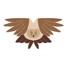 Textured Vector Illustration Of An Isolated Brown Owl In Flight.