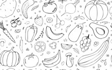 Vector  Background With Vegetables, Fruits And Berries. Useful For Packaging, Menu Design And Interior Decoration. Hand Drawn Doodles. Seamless Pattern Vegetarian Elements On A White Background.