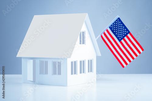 Fényképezés  American flag on the roof