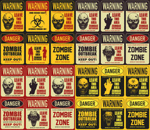 Zombie Attention Beware And Caution Sign Set. Corpse Danger Emblem. Vector Illustration.