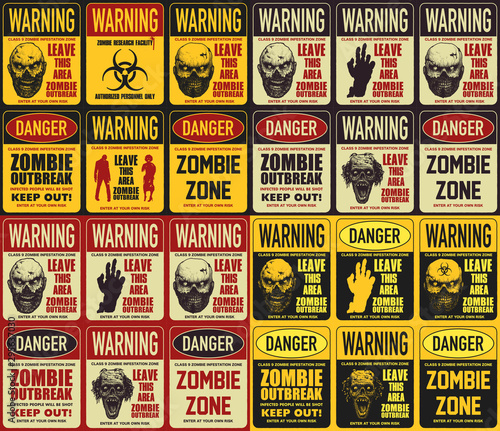 Foto Zombie attention beware and caution sign set