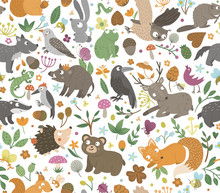 Vector Seamless Pattern With Hand Drawn Flat Funny Animals. Cute Repeat Background With Forest Creatures. Sweet Woodland Ornament For Children's Design, Print. .