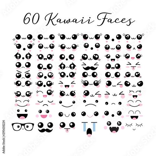 Big set of 60 kawaii cute faces emoticons icons emoji vector illustrations Wallpaper Mural