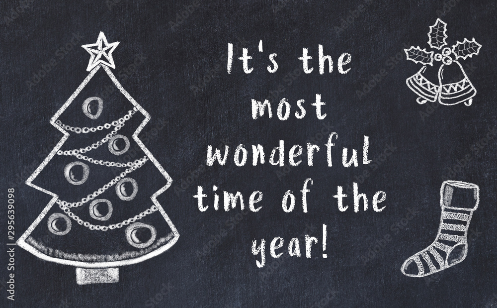 Fototapety, obrazy: Drawing of christmas tree and handwritten greetings on black chalkboard