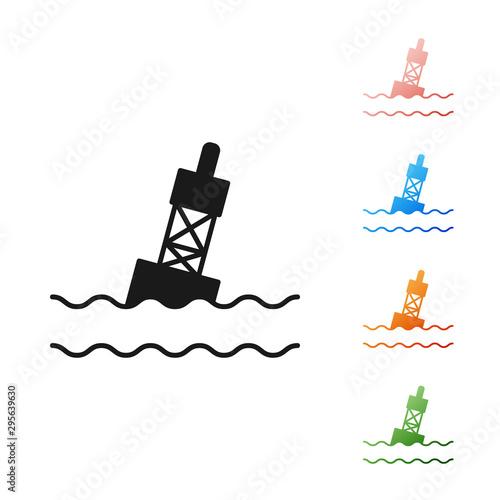 Photo Black Floating buoy on the sea icon isolated on white background