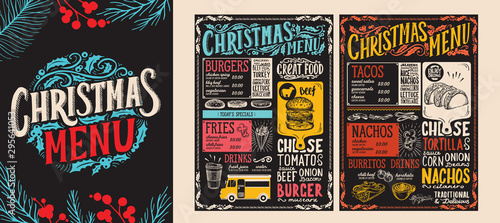 Christmas and New Year food menu template for restaurant. Vector illustration for holiday dinner celebration with hand-drawn lettering. - 295641053