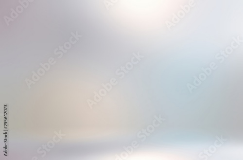 Shiny light silver wall 3d background. Brilliance pastel iridescent studio template. Pearl flare abstract illustration.