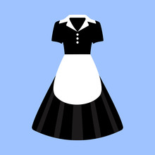 Vector Illustration Of An Isolated Black And White Maid Dress With Apron.