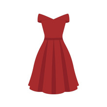 Vector Illustration Of An Isolated Red Off- Shoulder Style Vintage Dress.