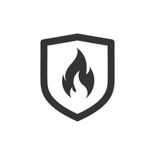 Shield With Fire Sign.  Vector...