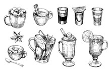 Sketches Of Winter Drinks.  Ho...