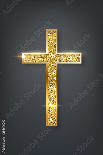 Gold prayer cross realistic vector illustration Fototapeta