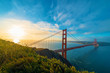 San Francisco's Golden Gate Bridge at sunrise from Marin County
