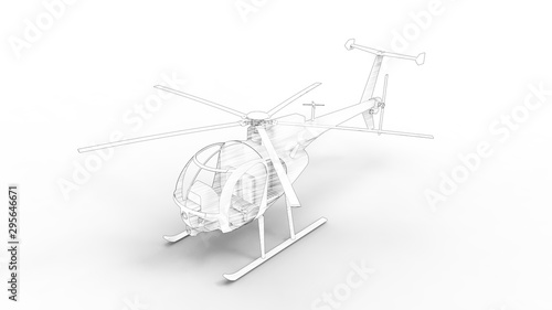 3d rendering of a small helicopter isolated in white background Wallpaper Mural