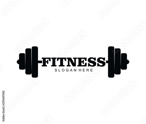 Gym fitness with barbell logo icon vector template Canvas Print