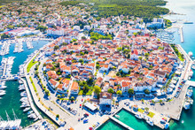Croatia, Town Of Biograd Na Moru On Adriatic Sea, Aerial View Of Marina And Historic Town Center