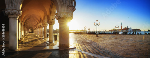 Aluminium Prints Venice San Marco with the curch San Giorgio di Maggiore in the background in Venice, Italy at a dramatic sunrise