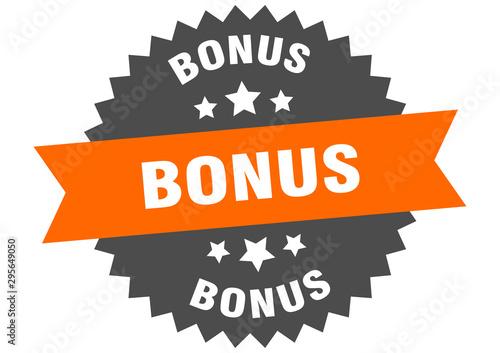 Fototapeta bonus sign. bonus orange-black circular band label obraz