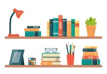 Book Shelves With Books And Other Objects. Book, Lamp, Potted Plant, Photo Frame, Rubik Cube, Glasses. Vector Illustration In Flat Style.