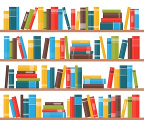 Book shelves with multicolored book spines. Books on a shelf. Vector illustra...