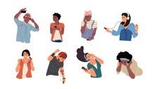 People Listen To Music. Dancing Cartoon Young Characters With Smartphones And Headphones. Vector Illustrations Isolated Happy Teenagers Listening Smartphone Through Earphones Set