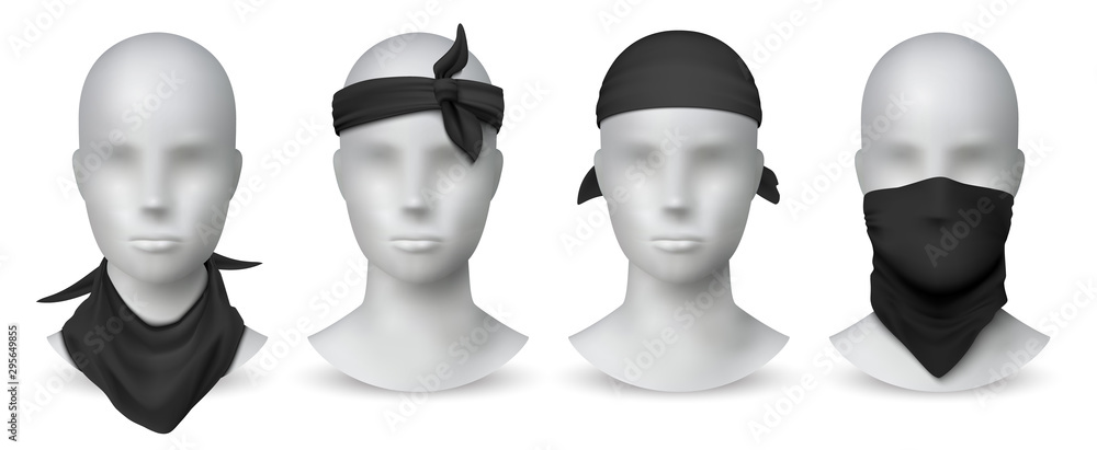 Fototapeta Realistic black bandana. Handkerchief or buff on white mannequin, biker blank head scarf or bandage template. Vector illustration isolated fashion mockup set for tourists gangsters on white background