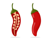 Spicy Red Chillies Are Cut In Half Until The Chilli Seeds Can Be Seen Inside.