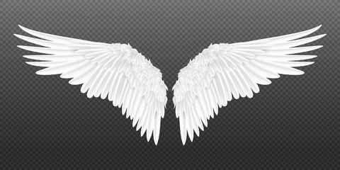 Realistyczne skrzydła. Para białych na białym tle skrzydła anioła stylu z piór 3D na przezroczystym tle. Wektorowy ilustracyjny ptasich skrzydeł projekt