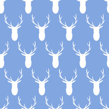 Vector Seamless Pattern Of White Deer Heads With Antlers On A Blue Background. Great For Nursery Decor, Children's Fabric And Wallpaper.