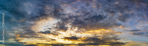 Golden hour cloudy sky panoramic nature background Fototapete