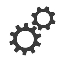 Gear Vector Icon. Continuous Running Gear Concept Of Organizational Movement.