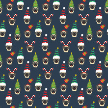 Pug In Christmas Hat Seamless Pattern