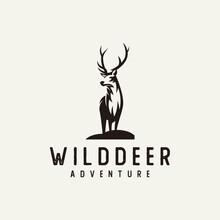 Silhouette Deer Logo - Vector Illustration Of A Classic Retro Animal