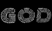 Word God In White Written With Christian Words On Black Background. Christian Background