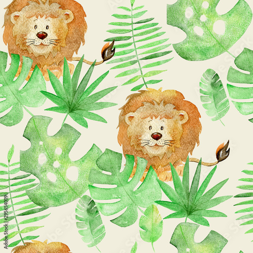 Watercolor safari animals. Canvas Print