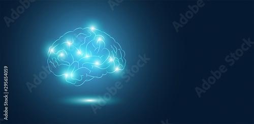 Obraz cervello, sagoma, silhouette, attività cerebrale, neuroni,  - fototapety do salonu