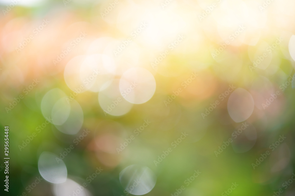 Fototapety, obrazy: Defocused of beautiful sunrise in the park..Blurred shrub refreshment with sunlight and orange color bokeh used for background.