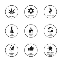 CBD Oil Icons Set Including TH...